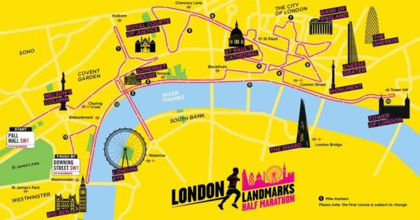London Landmarks Half Marathon map